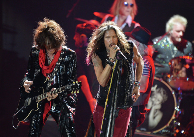Aerosmith  perform at Olimpiisky Sports Complex in Moscow.