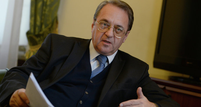 Russian Deputy Foreign Minister and Special Presidential Representative for the Middle East Mikhail Bogdanov during an interview