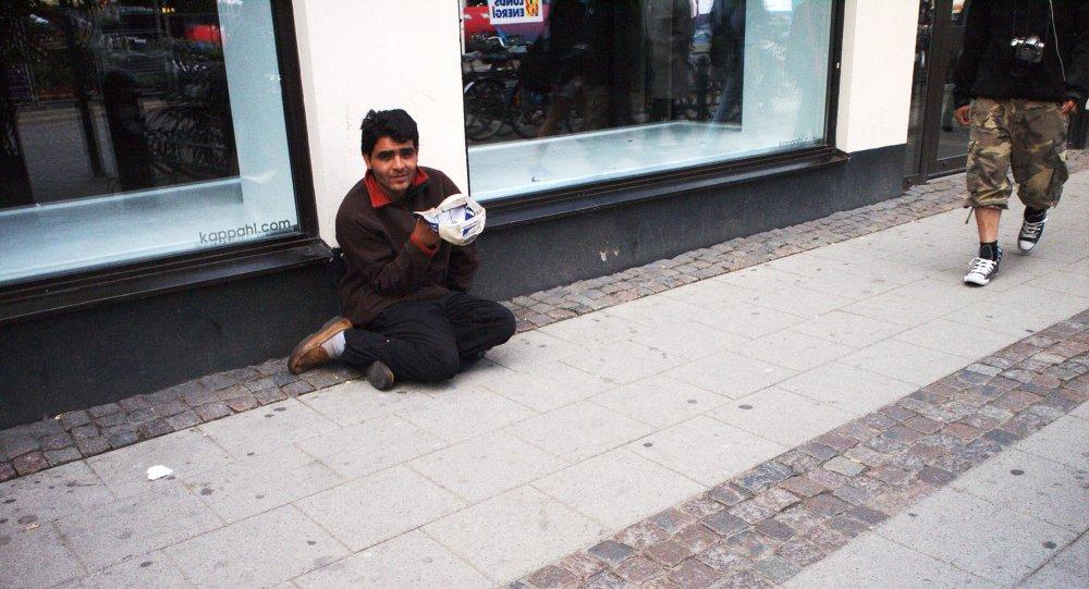 An non-EU beggar in Lund, Skane, Sweden