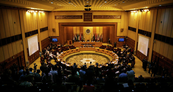 Representatives of the Arab League attend the Arab Initiative follow-up committee at the Arab League headquarters in Cairo, Egypt, Wednesday, Aug. 5, 2015
