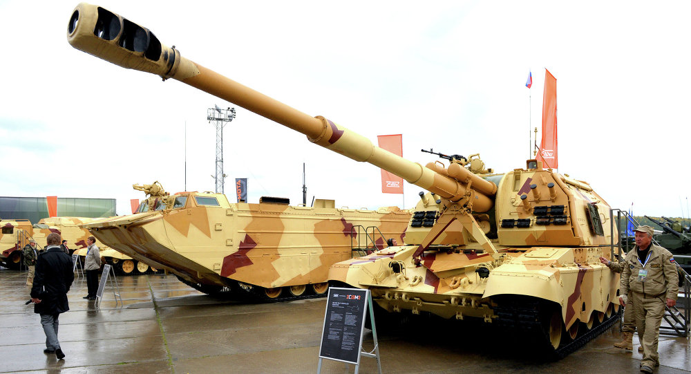 The 2S19 Msta-S self-propelled howitzer at the 9th International Exhibition of Arms,Military Equipment and Ammunition, held in the city of Nizhny Tagil