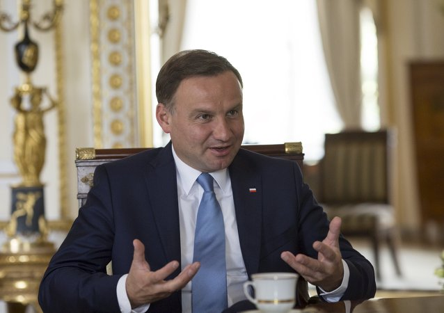 Poland's President Andrzej Duda gestures during a Reuters interview at the Presidential Palace in Warsaw, Poland August 14, 2015