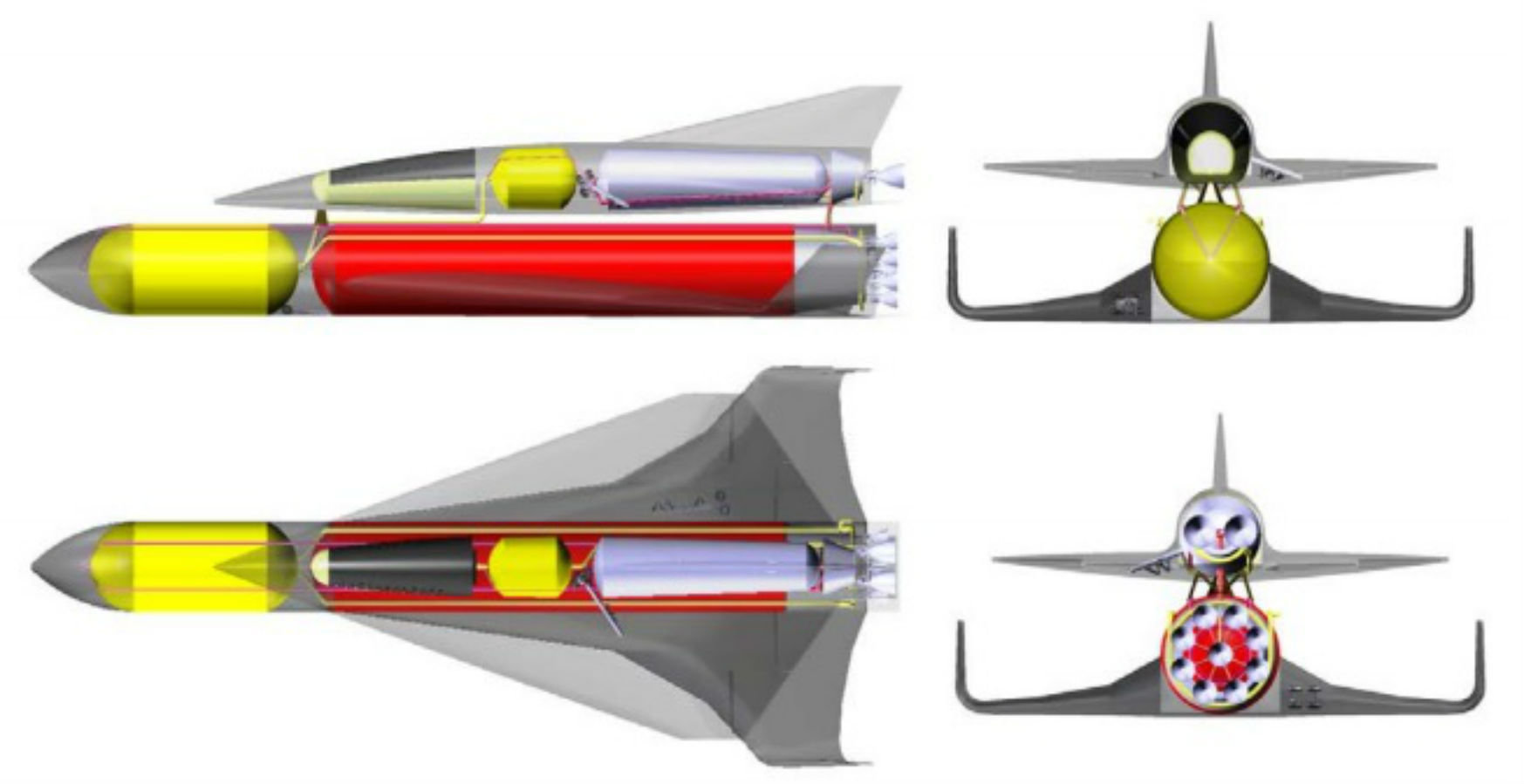 Sketch of the SpaceLiner with passenger stage on top and booster stage at bottom position.