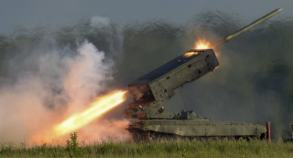 The TOS-1 heavy flamethrower system fires a missile during a demo show at the ARMY-2015 International Military-Technical Forum held at Patriot Park, a new congress and exhibition center in Kubinka outside Moscow