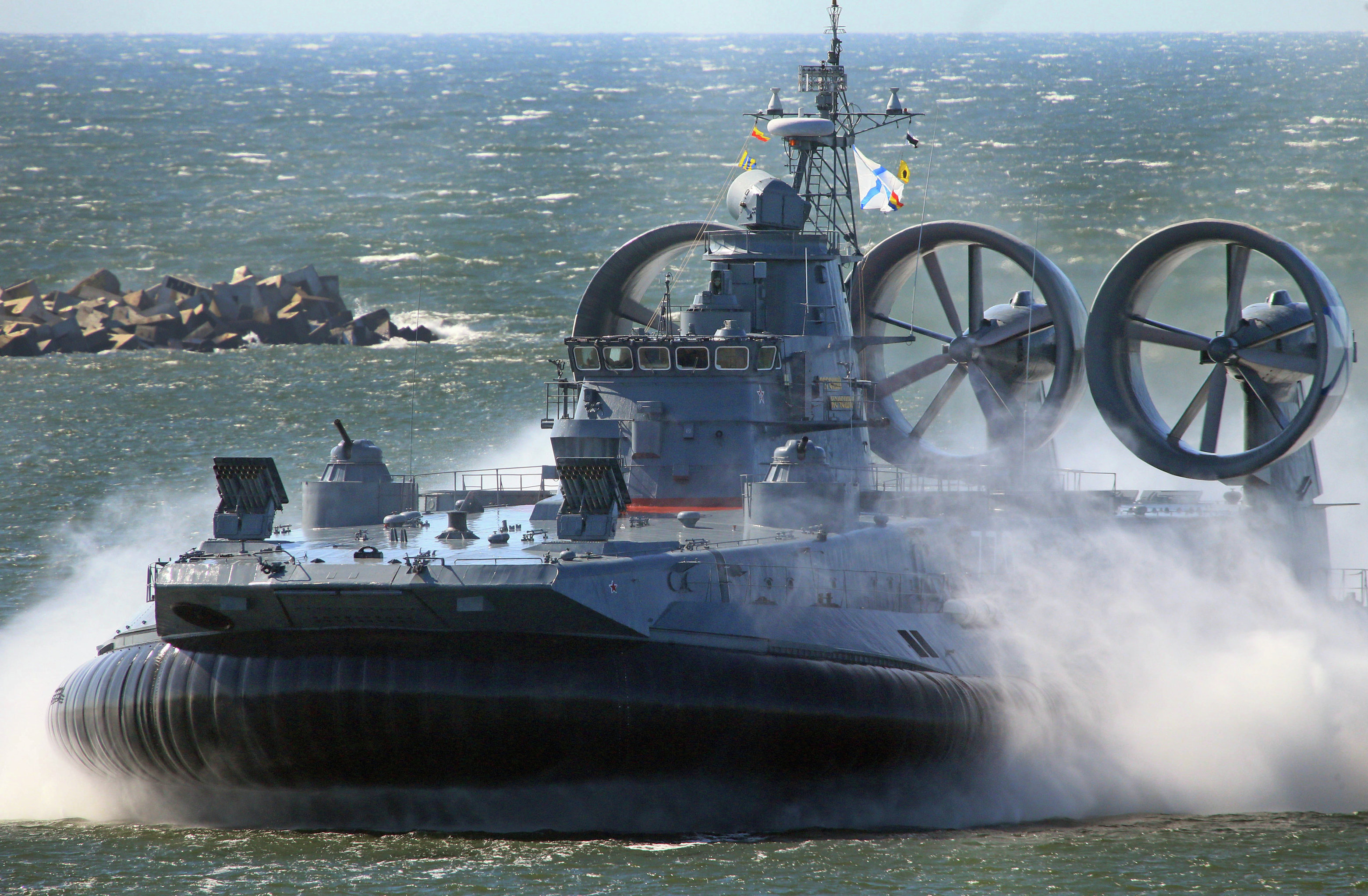 The Yevgeny Kocheshkov small landing hovercraft during a rehearsal of a Navy Day Parade in the Marine Canal of Baltiysk