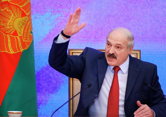 Belarusian President Alexander Lukashenko speaks during a news conference in Minsk, Belarus. File photo