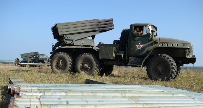 Deployment of Uragan Multiple-Launch Rocket System during an exercise in missile strike and artillery fire control at the Chebarkul firing range of the Central Military District in the Chelyabinsk Region