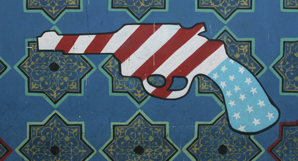 The US Den of Espionage in Tehran, formerly known as the US Embassy, has many anti-American paintings on its outer walls 2007