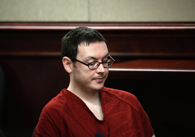 James Holmes appears in court for the sentencing phase in his trial, Monday, Aug. 24, 2015, at Arapahoe County District Court in Centennial, Colo