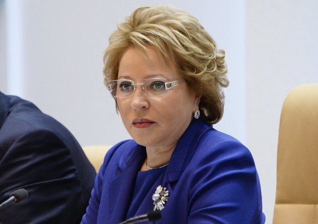 Russian Federation Council Speaker Valentina Matviyenko at a meeting of the council