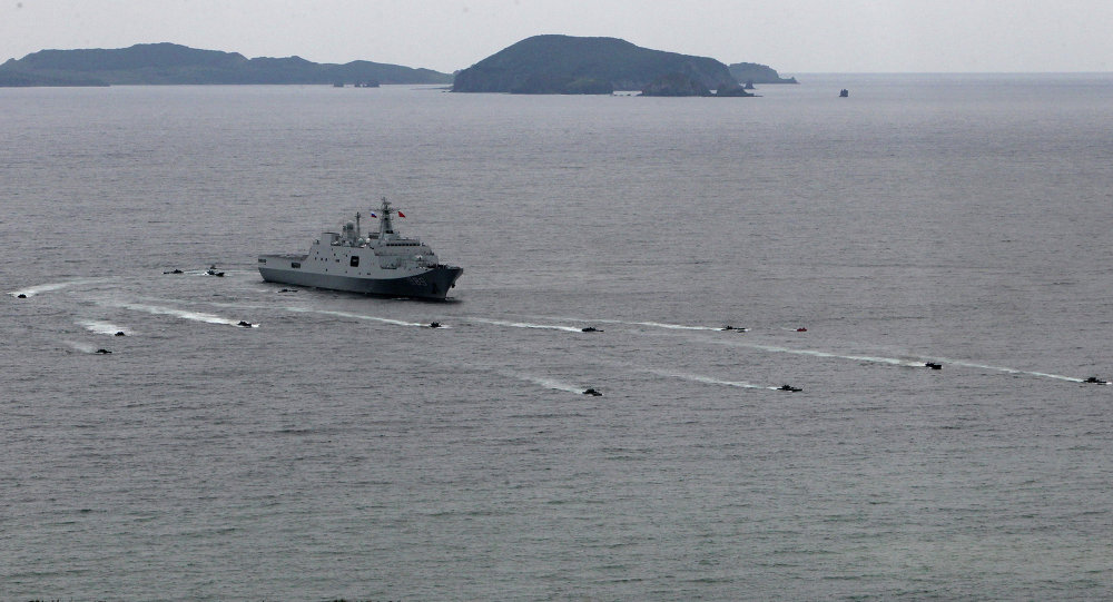 Russian-Chinese naval drill Naval Interaction–2015, Vladivostok, August 2015. The exercises constituted the largest joint maritime exercises in the two countries' history.