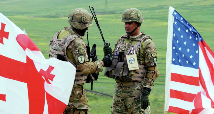 Georgian servicemen takes part in the joint US-Georgian exercise Noble Partner 2015 at the Vaziani training area outside Tbilisi, on May 21, 2015