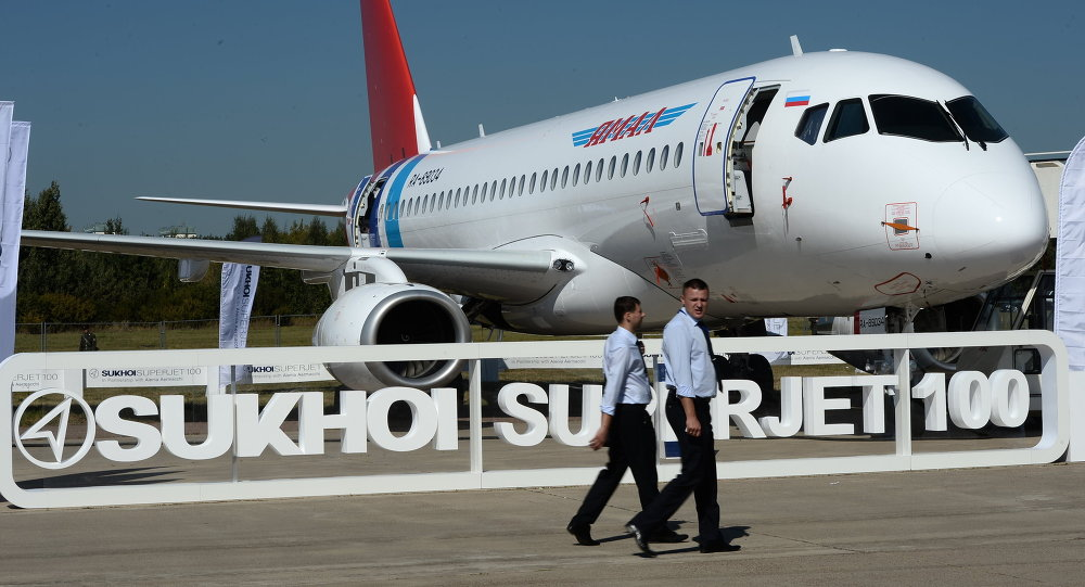 The Sukhoi Superjet 100 presented at the 2015 MAKS air show's opening ceremony in the Moscow suburban town of Zhukovsky