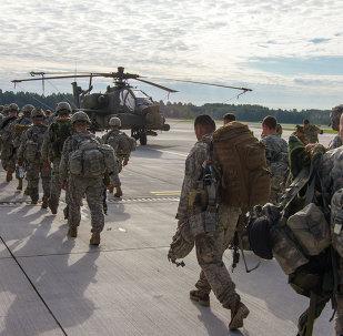 Paratroopers of 1st Battalion, 503rd Infantry Regiment, 173rd Airborne Brigade depart Lielvarde Airbase (NATO), Latvia. File photo
