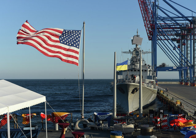 Ukraine (Sept. 1, 2015) USS Donald Cook (DDG 75) and Ukrainian navy ship UKRS Hetman Sahaydachniy (U130) moored in Odesa, Ukraine for Sea Breeze 2015