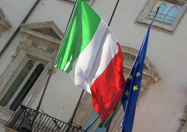 Italian and EU flags