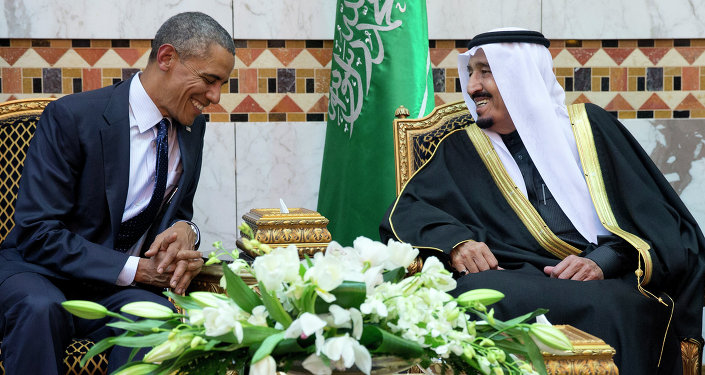 FILE - In this Jan. 27, 2015 file photo, President Barack Obama meets Saudi Arabian King Salman bin Abdul Aziz in Riyadh, Saudi Arabia