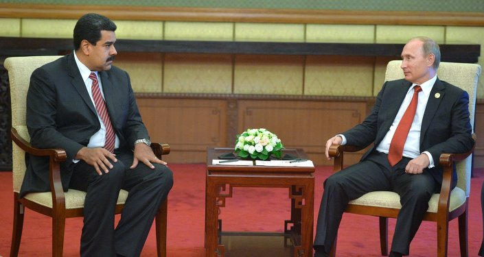 September 3, 2015. Russian President Vladimir Putin, right, and President of the Bolivarian Republic of Venezuela Nicolas Maduro during their meeting in the Diaoyutai state guest house in Beijing