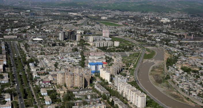 This aeriel view taken through an airplane window shows Dushanbe, the capital of Tajikistan, Monday, April 5, 2010
