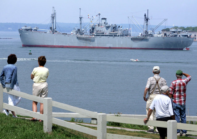 The Liberty Ship S.S. John W. Brown arrives in Portland Harbor, Thursday, Aug. 16, 2007, in Portland, Maine