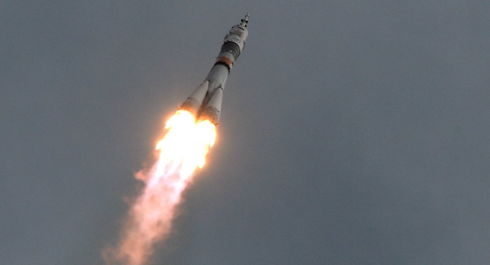 Soyuz TMA-18M launches from Baikonur Cosmodrome to take the long-duration expedition 45/46 to the International Space Station.