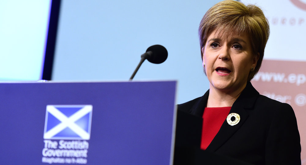 Scotland's First Minister Nicola Sturgeon addresses a speech on Scotland's commitment to Europe at an European Policy Centre (EPC) event in Brussels, on June 2, 2015