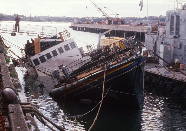 (FILES) -- A file picture taken on August 14, 1985 shows the Greenpeace ecologist organization boat Rainbow Warrior which was sunk in the bay of Auckland on July 10, 1985 by French secret services, as it was en route to Pacific Ocean to protest against French nuclear tests
