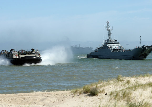 A file photo showing NATO troops make a massive amphibious landing off the coast of Ustka, northern Poland, during NATO military sea exercises BALTOPS (Baltic Operations) 2015 in the Baltic Sea