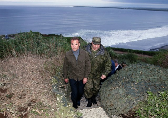 Prime Minister Medvedev visiting the Kuril Islands, August 2015.