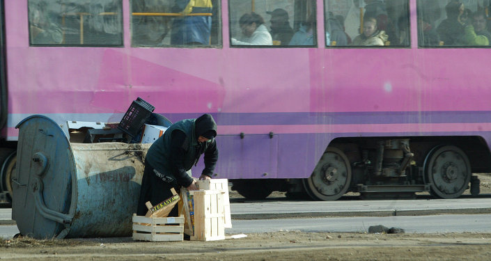 A woman collects wooden cases for heating her house with in Bucharest