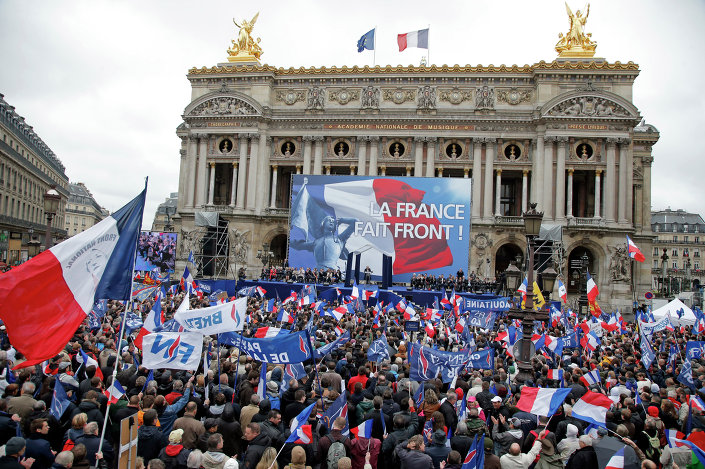 France's far-right National Front president Marine Le Pen delivers her speech at Opera Plaza during the annual May Day march, in Paris, France, Friday, May 1, 2015