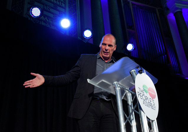 Former Greek finance minister, Yanis Varoufakis, speaks at a meeting of The Peoples Assembly in London on September 14, 2015.