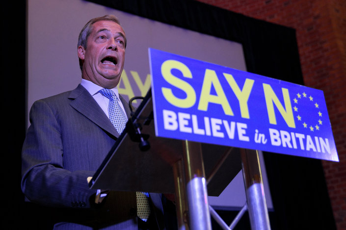 UK Independence Party (UKIP) leader Nigel Farage speaks at a press conference in London on July 30, 2015, where he set out the party's vision for a 'No' vote in an referendum on EU membership that Britain's Prime Minister David Cameron has promised to hold before the end of 2017.