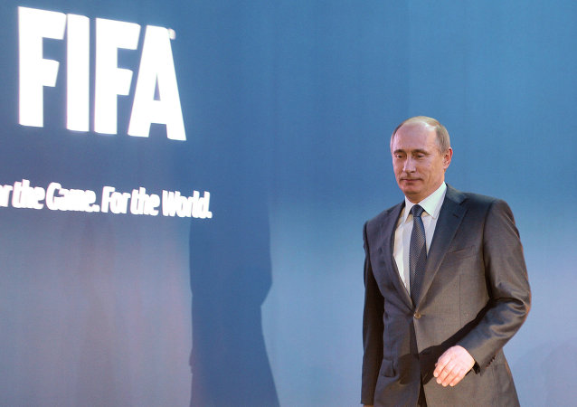 Vladimir Putin before a news conference following the announcement of Russia as the host country for the 2018 World Cup.