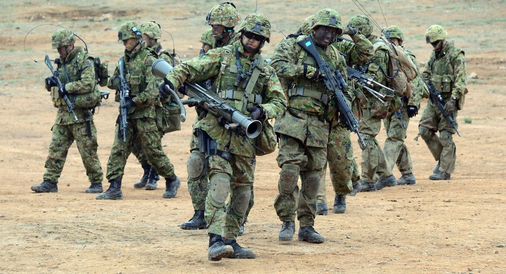 Soldiers from the Japan Ground Self-Defense Force's Western Army Infantry Regiment
