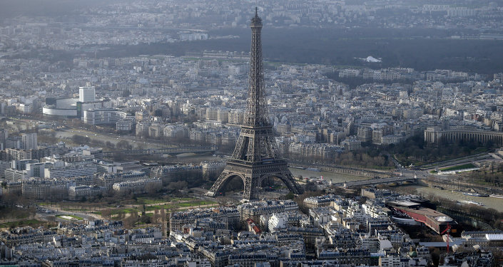 An aerial view taken on January 11, 2015 shows the Eiffel Tower in Paris