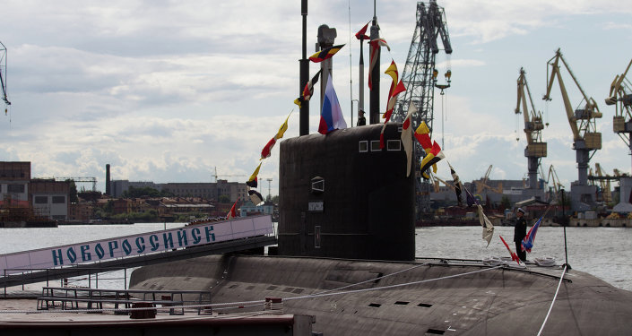 Official ceremony of raising Russian Navy colors on Novorossiysk diesel-electric submarine