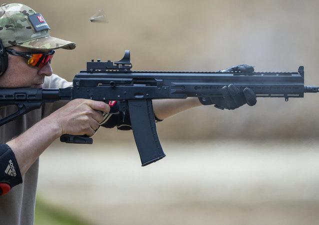 Demo firing a Saiga 12 smoothbore autoloading shotgun