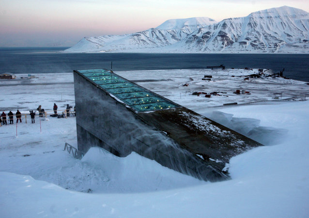 Snow blows off the Svalbard Global Seed Vault before being inaugurated at sunrise