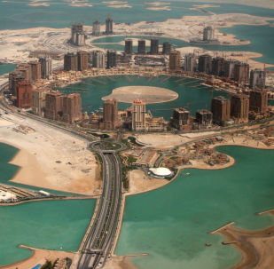 An aerial view shows the pearl Qatar project in Doha, Qatar, Thursday, April 8, 2010