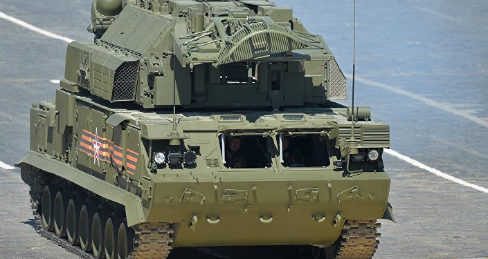 An all-weather TOR-M2U/SA-15 Gauntlet tactical surface-to-air missile system