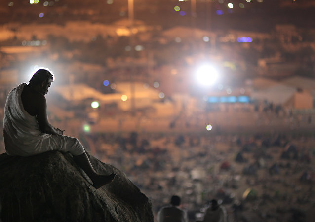 Muslim pilgrim prays on a rocky hill called the Mountain of Mercy, on the Plain of Arafat, near the holy city of Mecca, Saudi Arabia