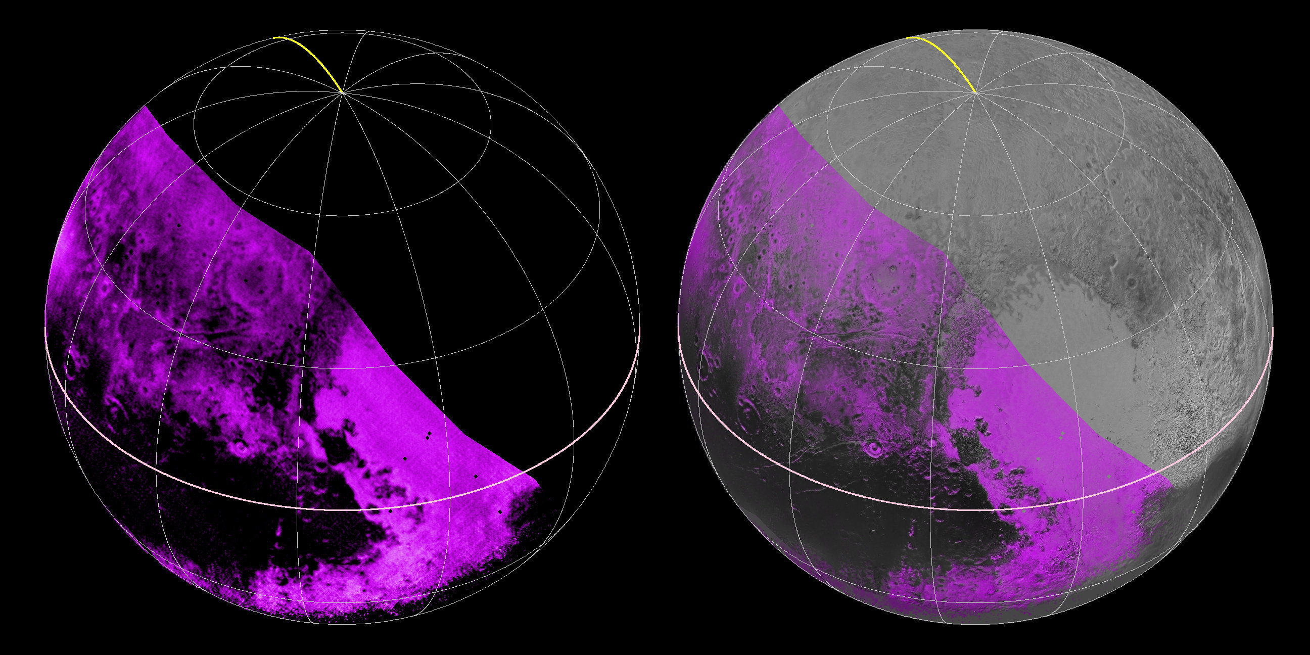 On the left, a map of methane ice abundance shows striking regional differences, with stronger methane absorption indicated by the brighter purple colors here, and lower abundances shown in black. Data have only been received so far for the left half of Pluto's disk. At right, the methane map is merged with higher-resolution images from the spacecraft's Long Range Reconnaissance Imager