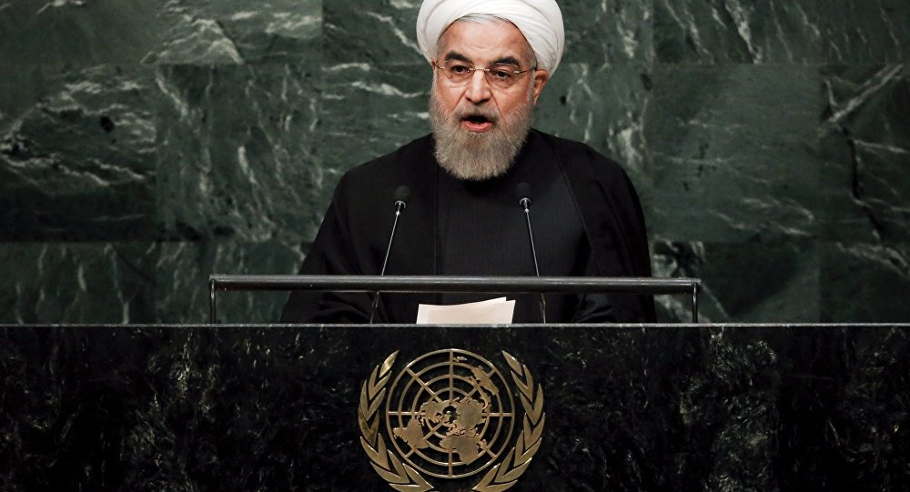 Iran's President Hassan Rouhani addresses a plenary meeting of the United Nations Sustainable Development Summit 2015 at the United Nations headquarters in Manhattan, New York September 26, 2015