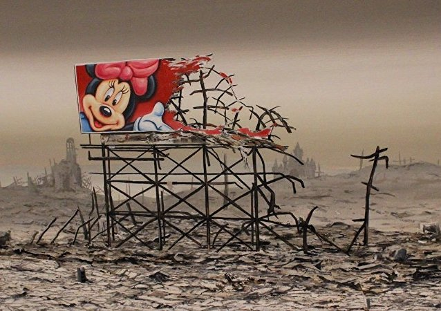 One of the paintings at Dismaland.