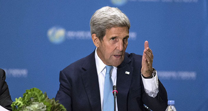 US Secretary of State John Kerry speaks during the Major Economies Forum on Energy and Climate(MEF) meeting on September 29, 2015 in New York