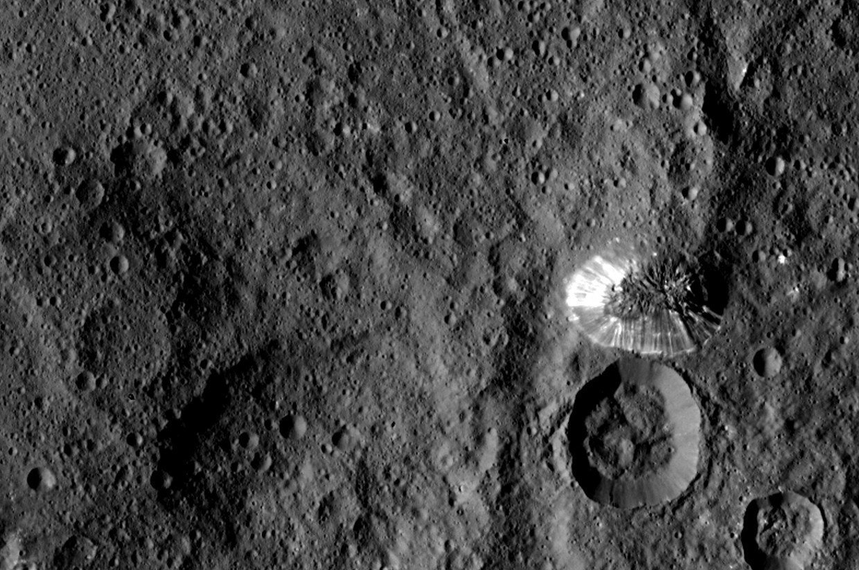 Giant mountain next to crater on Ceres