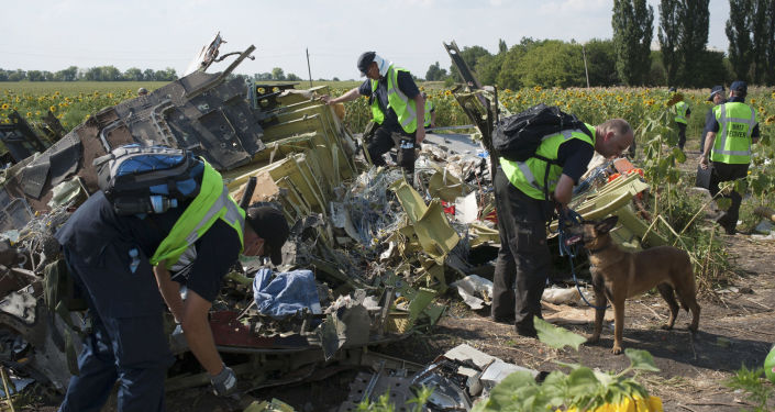 Australian, Malaysian and Dutch investigators examine pieces of the downed Malaysia Airlines Flight 17 plane, near the village of Rossipne, Donetsk region, eastern Ukraine
