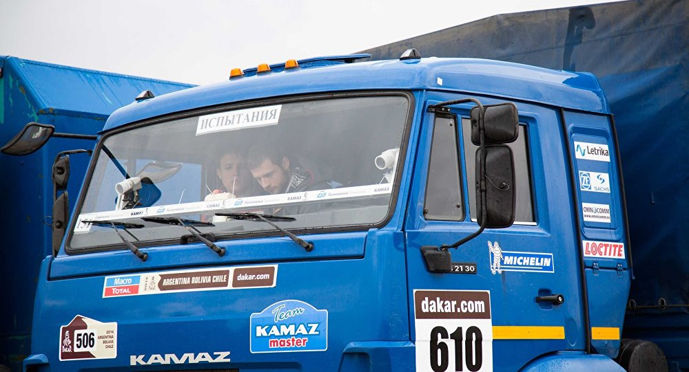 One of the vehicles used to test the driverless Kamaz's sensor equipment.