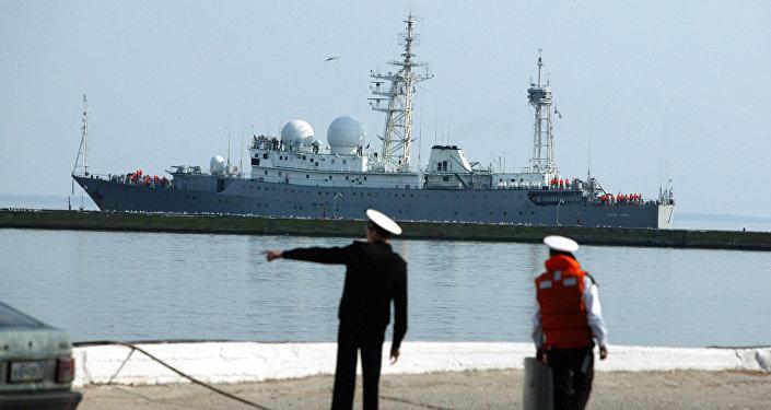 The Russian Navy communications ship Vasily Tatishchev, seen here at the Kaliningrad Region harbor of Baltiysk.
